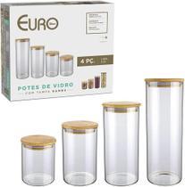 Jogo de potes de vidro slim com tampa bambu 4 peças euro -