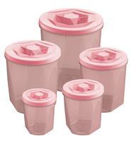 Jogo de Potes Porta Mantimentos 5 Peças Plástico Vision Com Tampa de Rosca UZ Utilidades - Rosa -