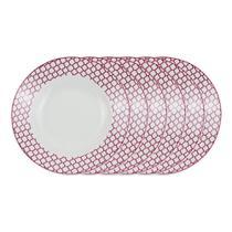 Jogo de pratos fundo em porcelana Casambiente Agatha 20cm rosa 6 peças -