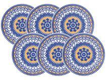 Jogo de Pratos Fundo Redondo Cerâmica 6 Peças - Oxford Daily Floreal La Carreta