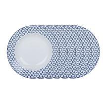 Jogo de pratos fundos em porcelana Casambiente Agatha 20cm azul 6 peças -