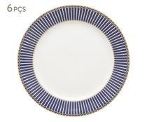 Jogo de Pratos para Sobremesa em Porcelana Dan Azul-Marinho - Wolff