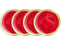 Jogo de Pratos Redondo de Vidro Vermelho Raso - de Servir Bon Gourmet Melancia 4 Peças