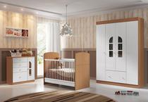 Jogo de Quarto de Bebê com Guarda Roupa, Cômoda, e Berço Mini Cama Linha Bolinha de Sabão Multimóveis -