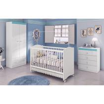 Jogo De Quarto Infantil Completo Para Bebê Branco Azul Santriani - Móveis Leartam -