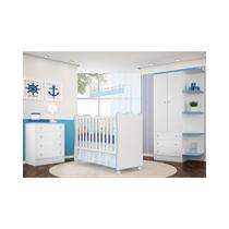 Jogo de Quarto Infantil Doce Sonho com Berço Simples Branco/Azul - Qmovi -