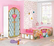 Jogo de Quarto Infantil Princesas Disney Premium Guarda Roupa e Cama Multifunção Báu - Pura Magia -