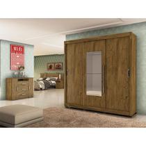 Jogo de quarto moval montreal 3 portas castanho avela wood -
