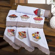 Jogo de Semaninha Pano de Prato 7 Peças Bordado Cupcake - Vilela Enxovais