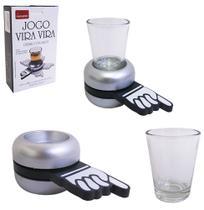 Jogo de shot vira vira com copo de vidro e base giratoria 11,3x6,2x4cm na caixa - Rs Mimos Para O Lar