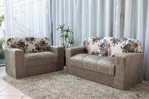 Jogo de sofá 2 e 3 lugares xaropinho tecido suede bege floral - Veneza Estofados