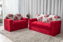 Jogo de sofá 2 e 3 lugares xaropinho tecido suede vermelho floral - Veneza Estofados