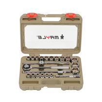 Jogo de Soquetes Estriado 1.2 Pol com 23 Peças 8 a 32mm Mayle -