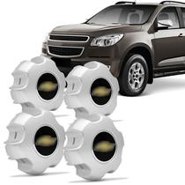 Jogo de Sub Calota Aro 16 Chevrolet S10 LTZ e LZ 2012 a 2014 Fechada Centro de Roda Prata 4 Peças - Emblemax