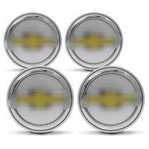 Jogo de Sub Calota Chevrolet 51mm Prata e Dourado Centro de Roda 4 Peças - Emblemax