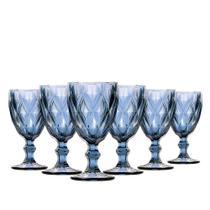 Jogo de Taça Água Diamante Azul 260ML Class Home -
