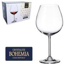 Jogo De Taca De Cristal Para Vinho Bordeau Com 6 Unidades Gastro Bohemia 650ml -