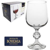 Jogo De Taça De Cristal Para Vinho Tinto Sterna Bohemia 230ml Com 6 Unidades -