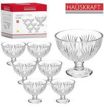 Jogo de taca de vidro redonda para sobremesa relevo eloisa hauskraft com 7 pecas -