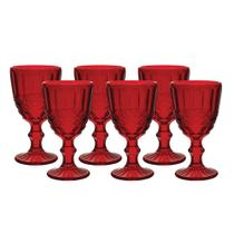Jogo de Taças Elegance Vermelho 320ml 6 Peças Água Suco - Hauskraft