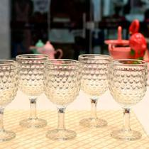 Jogo de tacas para vinho de vidro bubble 240ml - 6 peças - lyor - Niazi