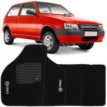 Jogo de Tapete Automotivo Carpete Fiat Uno 2008 à 2013 Soft Logo Bordado Preto 5 Peças - S/M