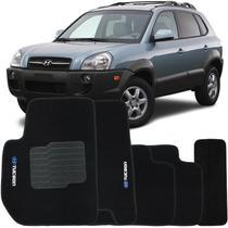 Jogo de Tapete Automotivo Carpete Hyundai Tucson 2005 à 2016 Soft Logo Bordado Preto 5 Peças - S/M