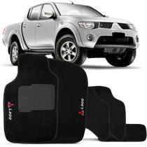 Jogo de Tapete Carpete Mitsubishi L200 2011 a 2013 Preto Bordado 5 Peças - Top gear