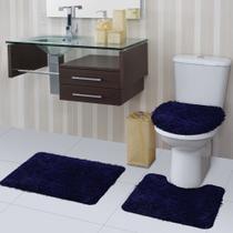 Jogo de Tapete de Banheiro Bella Azul 03 Peças Jolitex -