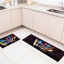 Jogo de Tapete de Cozinha2 Peças Bistro Happy Kitchen - CORTTEX