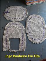 Jogo de Tapete de Crochê banheiro 3 Peças Cru 100% Algodão - fitas variadas - Relíquias do interior