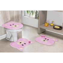 Jogo De Tapetes De Banheiro Formato Ursa Rosa 3 Peças - Guga Tapetes
