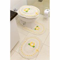 Jogo de Tapetes de Crochê para Banheiro Coruja Com Fita 3 Peças Amarelo - StoreMais
