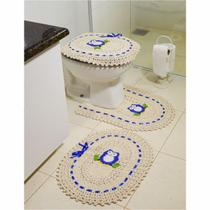Jogo de Tapetes de Crochê para Banheiro Coruja Com Fita 3 Peças Azul - Storemais