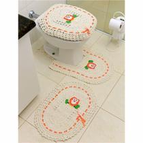Jogo de Tapetes de Crochê para Banheiro Coruja Com Fita 3 Peças Laranja - StoreMais