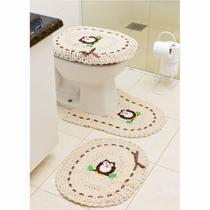 Jogo de Tapetes de Crochê para Banheiro Coruja Com Fita 3 Peças Marrom - StoreMais