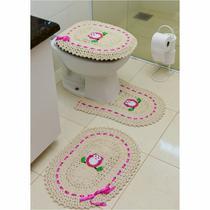Jogo de Tapetes de Crochê para Banheiro Coruja Com Fita 3 Peças Pink - StoreMais