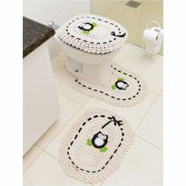 Jogo de Tapetes de Crochê para Banheiro Coruja Com Fita 3 Peças Preto - Storemais
