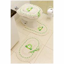 Jogo de Tapetes de Crochê para Banheiro Coruja Com Fita 3 Peças Verde - StoreMais