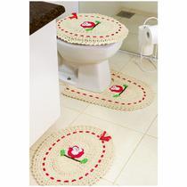 Jogo de Tapetes de Crochê para Banheiro Coruja Com Fita 3 Peças Vermelho - StoreMais