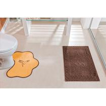 Jogo de Tapetes para Banheiro 2 Peças Antiderrapante com Beija Flor Bordado - Guga Tapetes