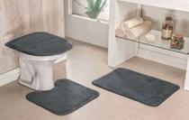 Jogo De Tapetes Para Banheiro Antiderrapante 3 Peças Cinza - Ampla Brasil