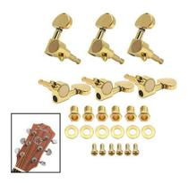 Jogo De Tarraxas Dourada Blindada Para Violão Guitarra 3X3 - Fixman