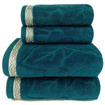 Jogo de toalha Lmpeter Sophia Petróleo (02 Banho + 02 Rosto) -