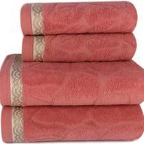Jogo de toalha Lmpeter Sophia Terracota (02 Banho + 02 Rosto) -