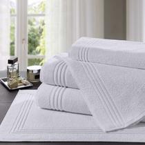 Jogo de toalhas brancas para hotel/pousada gramatura 500 - com 1 toalha de banho - 1 toalha de rosto -1 tapete piso - Lufamar