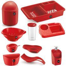 Jogo de Utensílios Para Cozinha 10 peças Com Porta Detergente Saleiro e Lixeira de Pia UZ - Uz Utilidades