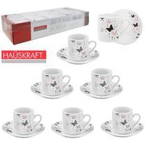 Jogo de xicara para cafe de porcelana borboleta hauskraft com 12 pecas 90ml na caixa -