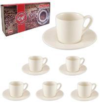 Jogo De Xicara Para Cafe De Porcelana Branca C/12 Peças 90ml - Western