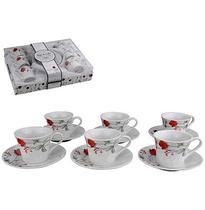 Jogo De Xicara Para Cafe De Porcelana Rosa Com 12 Pecas 100Ml - Wellmix